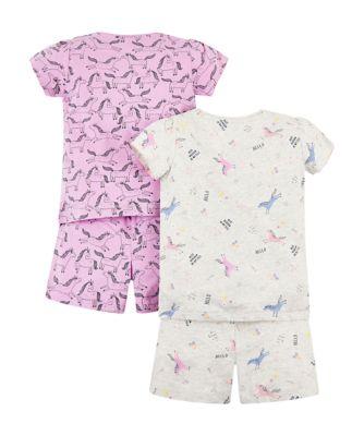 unicorn shortie pyjamas – 2 pack