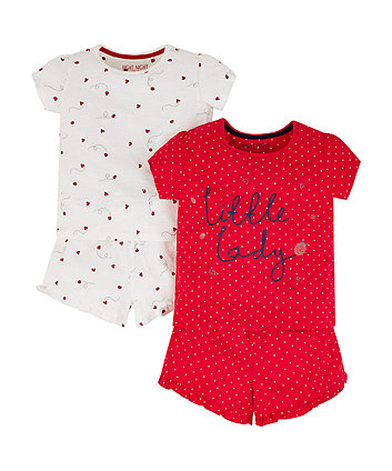 red and white little ladybird pyjamas – 2 pack