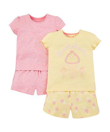 pastel ice cream and sprinkles shortie pyjamas – 2 pack