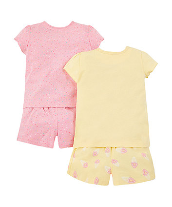 pastel ice cream and sprinkles shortie pyjamas – 2 pack