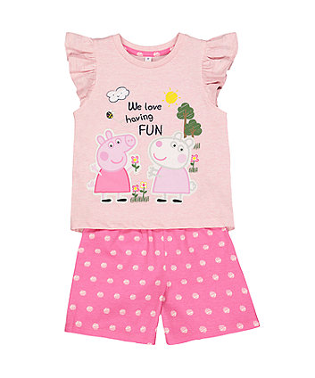 peppa pig pink shortie pyjamas