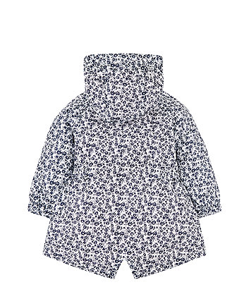 navy floral jersey-lined mac