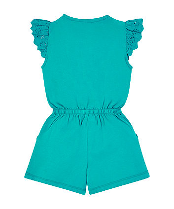 green broderie playsuit