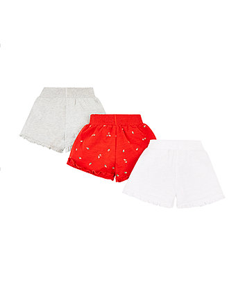 red, grey and white shorts - 3 pack