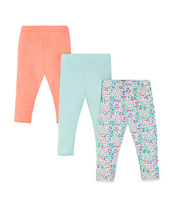 coral floral and blue leggings - 3 pack