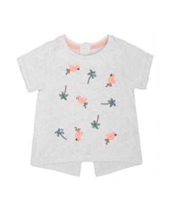 grey flamingo and palm tree t-shirt
