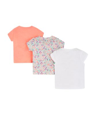 floral and coral t-shirts – 3 pack