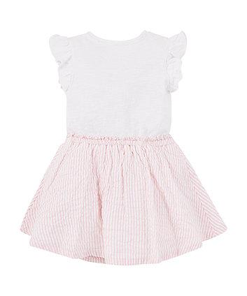 pink stripe twofer dress