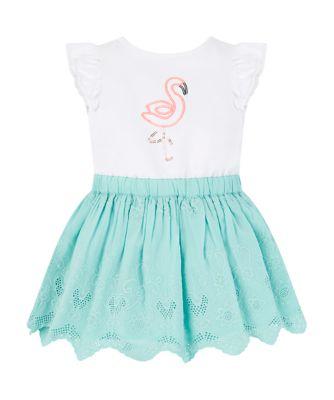 glitter flamingo broderie twofer dress