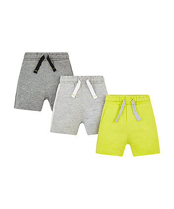 grey and green shorts – 3 pack