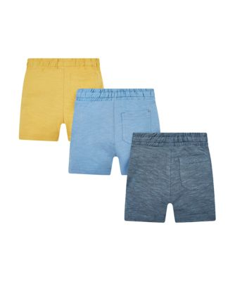 yellow and blue striped shorts -  3 pack