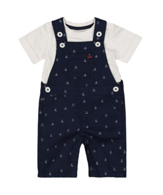 navy boat dungarees and t-shirt set