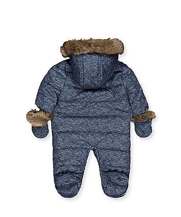 blue padded snowsuit