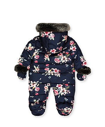 blue floral snowsuit