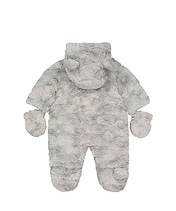 fluffy grey snowsuit