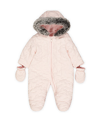 pink quilted snowsuit