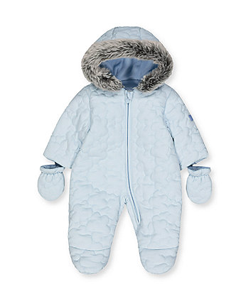 my first blue cloud quilted snowsuit