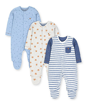 stripe, paw and bear sleepsuits - 3 pack