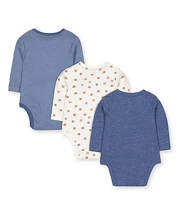 white and blue bear bodysuits - 3 pack