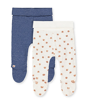 bear and rib blue leggings with feet - 2 pack