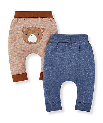 blue and brown joggers - 2 pack