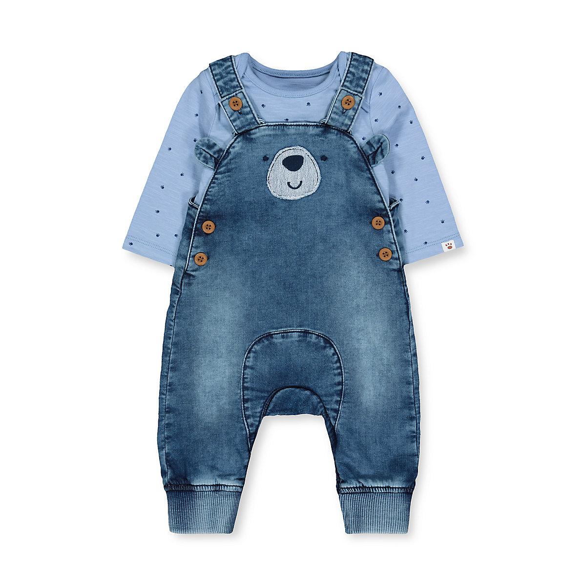 denim bear dungarees and blue paw bodysuit set