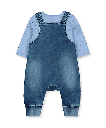 denim bear dungarees and blue paw bodysuit set