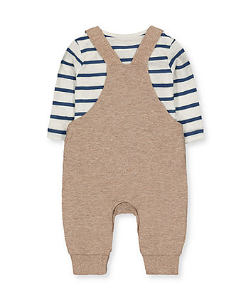 bear dungarees and stripe bodysuit set