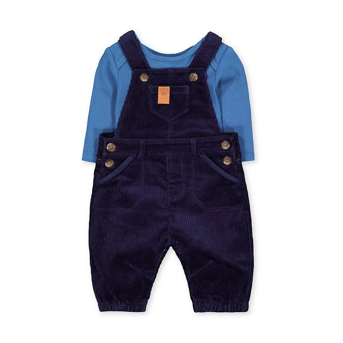 blue dungarees and ribbed bodysuit set