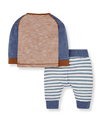 brown bear t-shirt and blue stripe joggers set