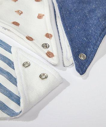 blue stripe and bear bibs - 3 pack