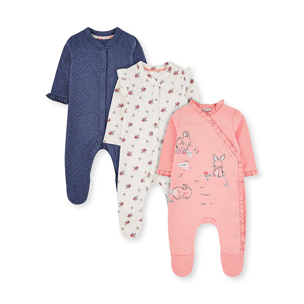 pink bunny. white floral and blue spot frill sleepsuits - 3 pack