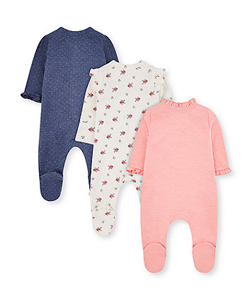 pink bunny, white floral and blue spot frill sleepsuits - 3 pack