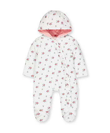 floral baby-cord pramsuit