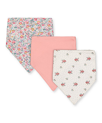 pink and floral bibs - 3 pack