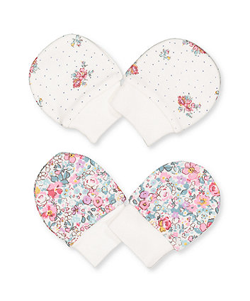 floral scratch mitts - 2 pack