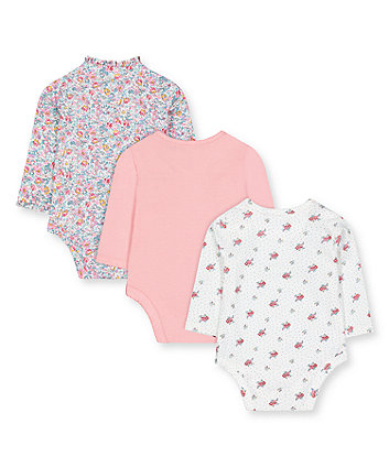 floral and pink wrap bodysuits - 3 pack