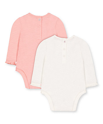 pink and white frill lace bodysuits - 2 pack