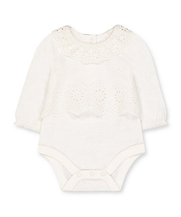 white broderie mock blouse bodysuit