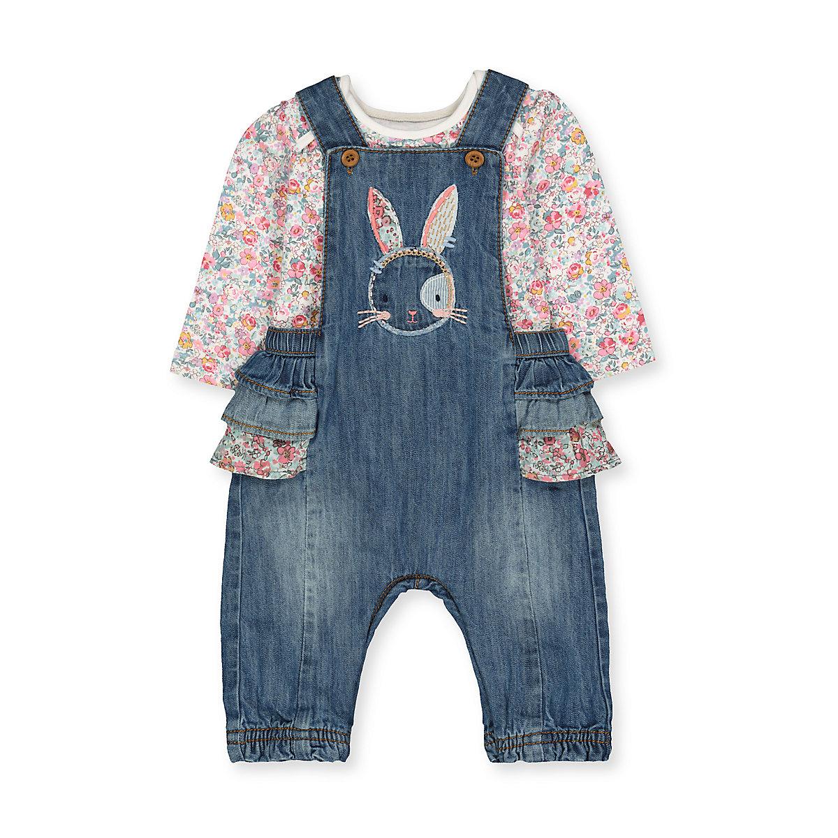 denim bunny dungarees and floral bodysuit set