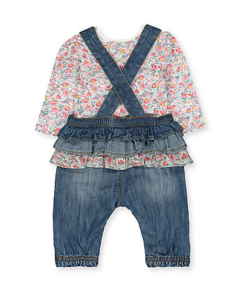 denim bunny dungarees and floral bodysuit set