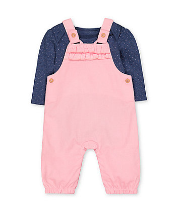 pink cord dungarees and bodysuit set