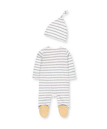 stripe dinosaur all in one and hat set