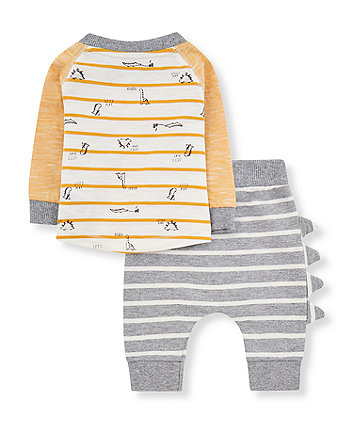 stripe dinosaur t-shirt and joggers set