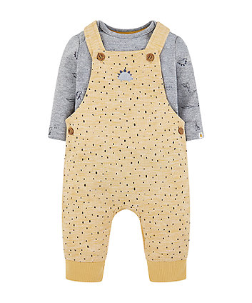 mustard dinosaur dungarees and grey rib bodysuit set