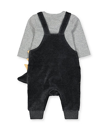 grey dinosaur dungarees and bodysuit set