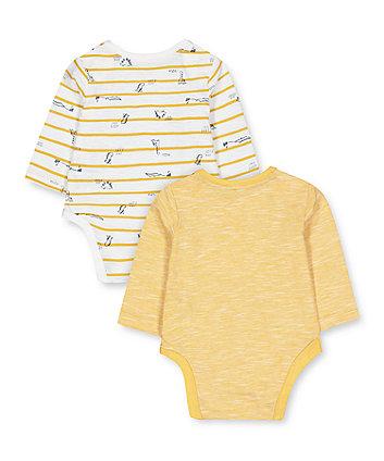 mustard dino bodysuits - 2 pack