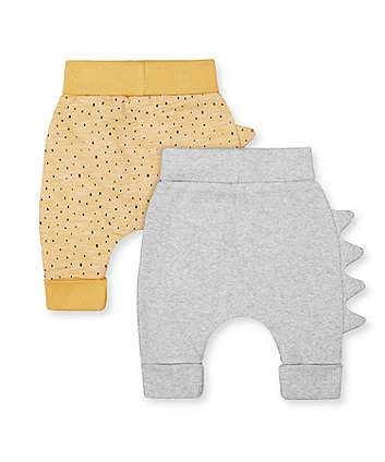 yellow dinosaur and grey rib joggers - 2 pack