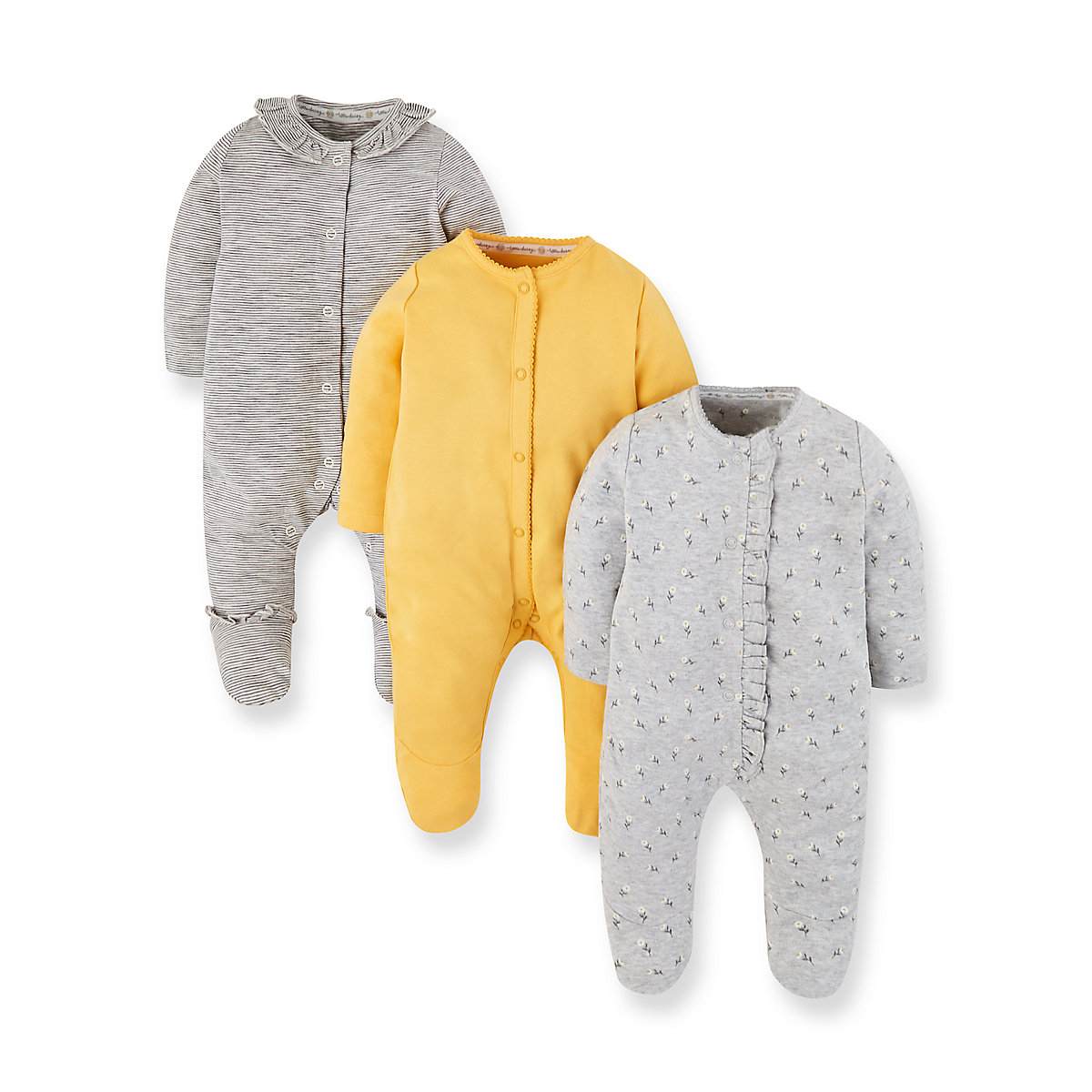 daisy. stripe and yellow sleepsuits - 3 pack