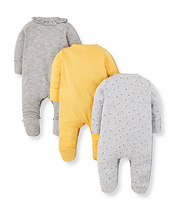 daisy, stripe and yellow sleepsuits - 3 pack